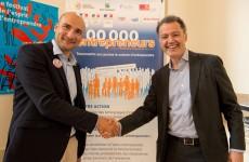 Olivier de Pembroke, futur président du CJD et Philippe Hayat, président de 100 000 entrepreneurs  ©Gaël Dupret/MaxPPP